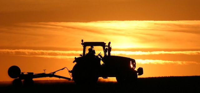 Angmering Park Estate tractor sunset